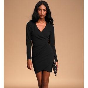 Lulus glassy gal black long sleeve dress NWT